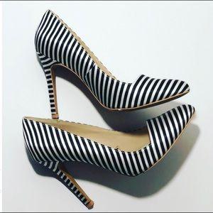 Forever 21 black white stripe pumps size 8?